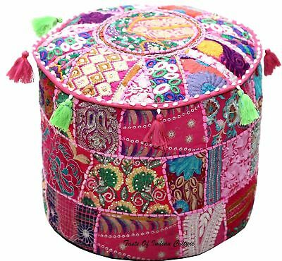 """18""""Handmade Patchwork Ottoman Covers Indian Ethnic Pouf Indian Foot Stool Covers"""