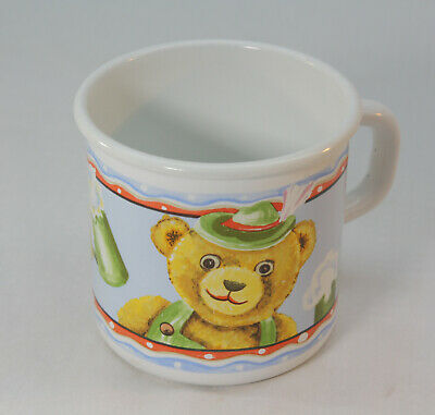 alter Emaille Kinderbecher, Tasse, Becher von Riess, Bär Motiv