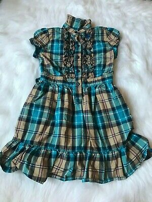 Girls Short Sleeve Dress by Cherokee Size Small 6/6X Teal Brown Plaid Checkered