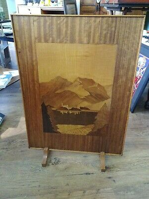 Vintage ? Art Deco period Wooden Fire Screen marquetry collect Arnside Cumbria