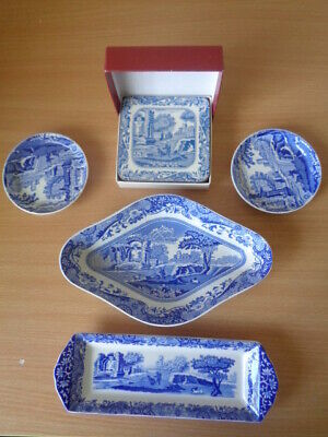 4 Dishes & Box 6 Drinks Coasters  Spode Italian - Excellent Un-Used Condition