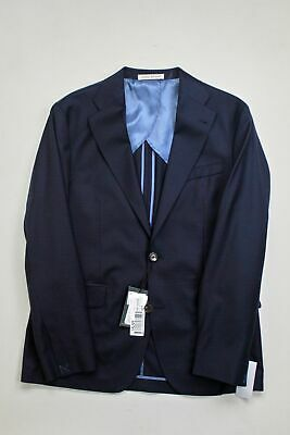 $625 Strong Suit Slim Fit 2 PC Suit 42R / 35W Navy Blue Check Super 130s