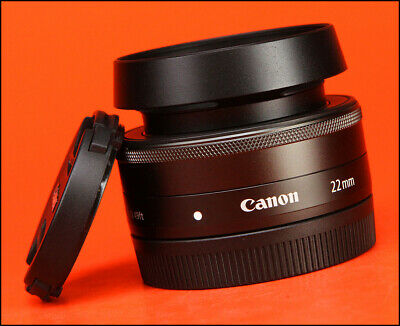 Canon EF-M 22mm F2 STM Pancake M-Mount Lens - Sold with Front / Rear Caps & Hood