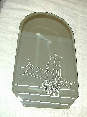 Original Art Deco Bevelled Mirror galleon decoration