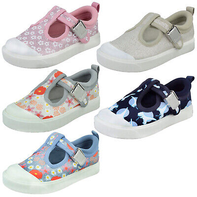 Girls Boys Clarks City Dance Clasp Toddler Casual Summer T Bar Canvas Shoes Size