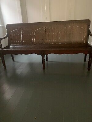 Elegant vintage railway waiting room bench, made 1900, Arts and Crafts style