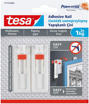 tesa 77774-00005-00 Wallpaper and Plaster 1kg-Height Adjustable Picture Hanger-P