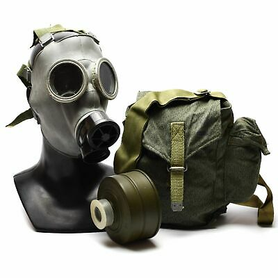 Cold war era Polish Gas Mask MC-1 Genuine respiratory MS-3 filter Olive OD NEW