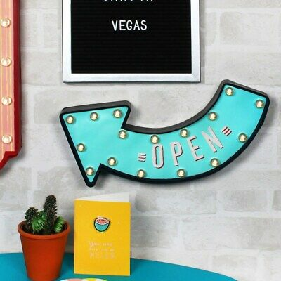 LIGHT UP LED OPEN ARROW Wall Hanging Sign American Home Bar Retro Cafe Vintage