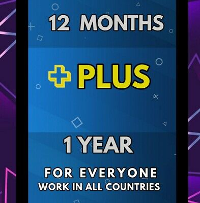 PSN 12 Month PlayStation PS Plus PS4 - WORLWIDE - NO CODE - PLAY WITH YOUR USER