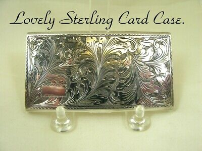 Card Case Vintage Sterling 925 Leaf Design Lid