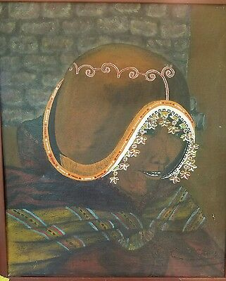 Antique Peruvian Woman Framed And Signed Oil Painting - Wonderful Piece Of Art