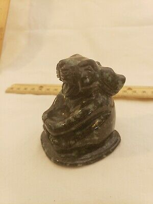 ELEGANTCHARM Chinese Master Sung Hand Carved Stone Rabbit Perfect Piece w Sticke