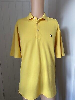 "Mens Polo Shirt Ralph Lauren Golf Size M Medium Short Sleeve Yellow 23"" L Large"
