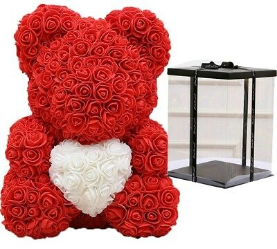 Large Artificial Rose Teddy Bear 40cm With Heart Gift Box Mother GF Annniversary