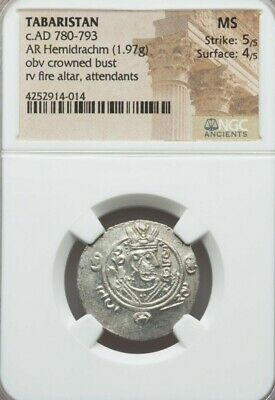 Tabaristan Crowned Bust Hemidrachm NGC MS 5/4 Ancient Silver Coin