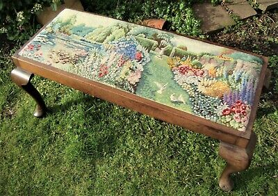 Antique Victorian Duet Piano Stool - Cottage Garden Tapestry - Good Condition