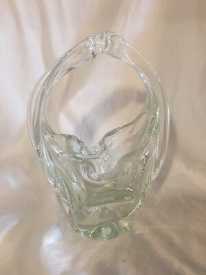 Mid Century Modern Splash Art Glass Basket Style Cigar Ashtray Trinket Vase NICE