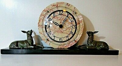 French Art Deco Marble Clock On A Plinth With Two Deer Working Well 1930's