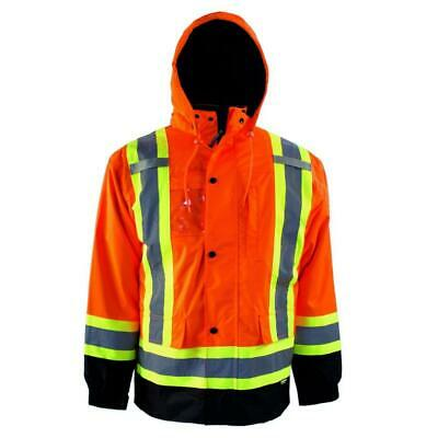 Terra 116504ORM High-Visibility Lined Reflective Safety Parka Orange Medium M