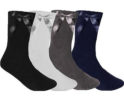 3 Pair Pack Girls  Cotton Rich Over Ankle Socks With Bow Back To School
