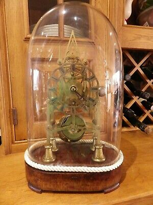 Skeleton Clock English Fusee With The Mint Original Dome And Base Circl 1870s