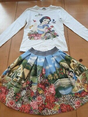 Monnalisa Designer Girl's Snow White Top, Blue Floral Skirt Outfit 8 - 9 Years