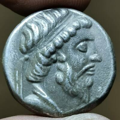Beautiful Old Solid Silver king greek Backtrian Coin # 133