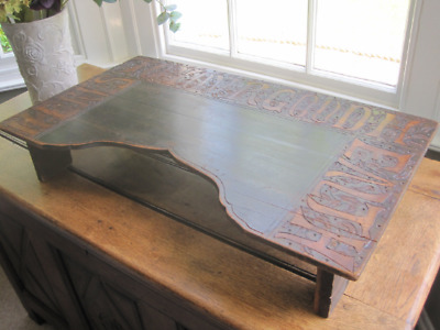 Charming Arts and Crafts Beech Poker Work Bed Tray, Table with Inscription M