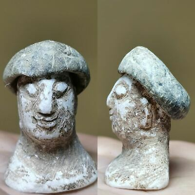 Ancient Rare Backtrian  composite stone King Head Face with cap# 133