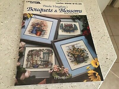 2 Paula Vaughan Bouquets & Blossoms And Sweet Violets Leisure Arts Chart Books