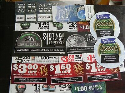 Tobacco Dip/SNUS Coupons Camel Grizzly Skoal Cope General RedSeal RedMan etc