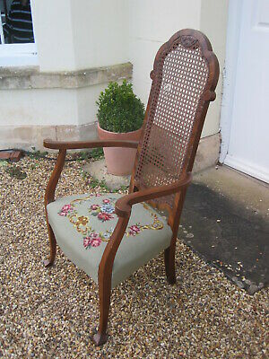 Arts and Crafts/Art Nouveau Bergere Armchair with Needlepoint Seat A