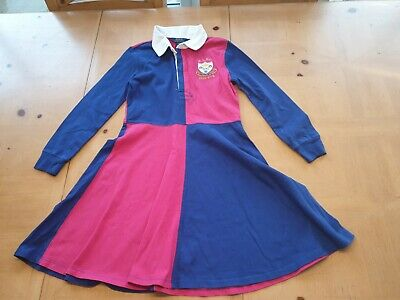Ralph Lauren Designer Girl's Navy Blue Pink Polo Shirt Dress Size 11 - 12 Years