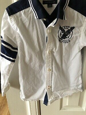 Designer Tommy Hilfiger Boys Navy And White Long Sleeve Shirt. Age 4 Worn Once
