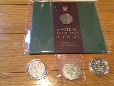 BREXIT 2020 ROYAL MINT PACK +1998 and 1973 50P EEC COINS - TOTAL 4 COIN BUNDLE