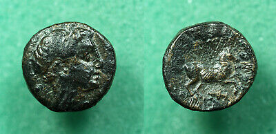 AG084 Ancient Greek, Alexander the Great, Macedonia AE 1/2 Unit, Apollo / Horse