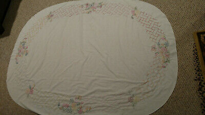"""VINTAGE Hand Embroidered Tablecloth Flowers Floral Mid Century 77X59"""" Pastels"""