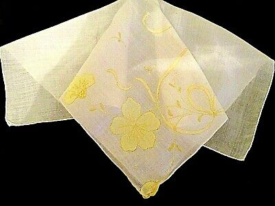 Vintage*Yellow On White*Madeira*Hand Embroidery/Applique*Wedding*Hanky*Exc Cond