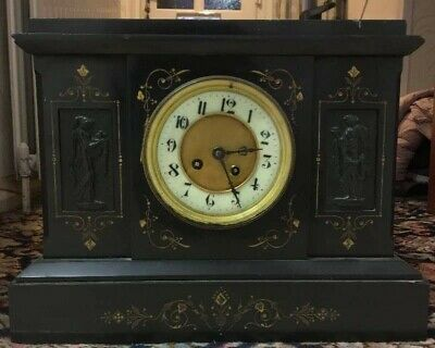 Victorian Slate & Marble Mantle Clock with carvings either side