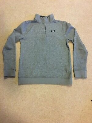 Under Armour Grey Zip Neck Jumper - Large Youths Golf Sports Approx. Age12-13