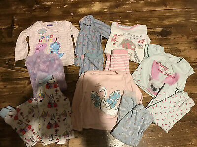 6 X Pairs / Bundle Girls Pyjamas Age 2-3 Years