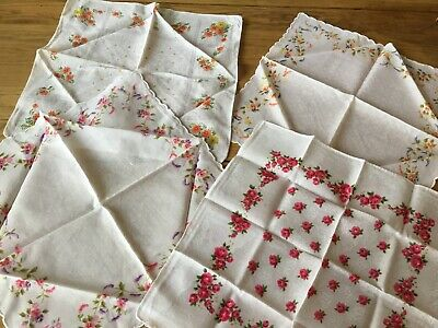 4 X Selection Of Ladies Cotton Printed Vintage Handkerchiefs