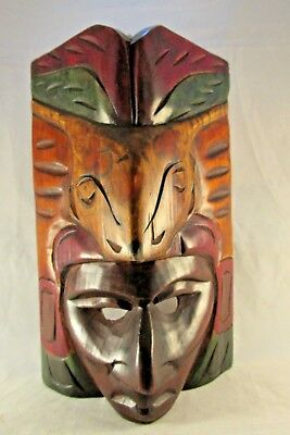 Carved Wooden Mask South Latin American Tribal Native Wall Corner Hanging Mask