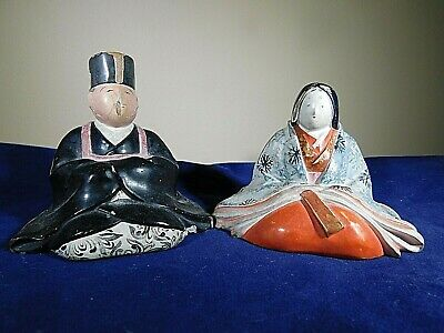 Oriental Japan Chalkware or Paper mache Man and Woman Figures Signed