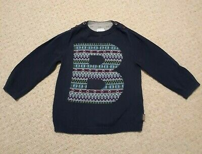 Boys Baker By Ted Baker Navy Blue Fine Knit Jumper Age 12-18 Months