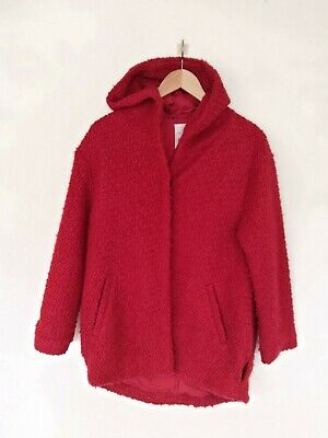 Zara girls women's red coat jacket with wool hood 14 years will fit women S