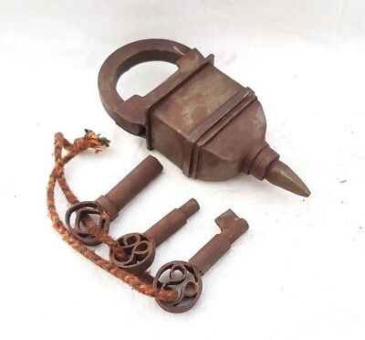 Rare Vintage Old Antique Style Looking 3 Key Iron Tricky / Puzzle System Lock