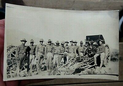 Ww1 Us Army Field Artillery Soldiers With Cannons Real Photo Postcard Rppc