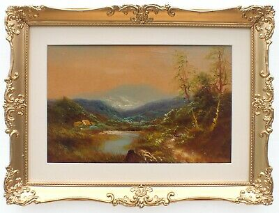 Cumbria Mountain Landscape Oil Painting Framed Victorian Antique 19th Century